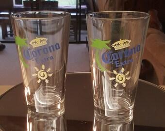 1338a49ca4a62a Vintage Corona Extra Beer Glasses set of 2 Beer Glasses Corona Colorful Corona  beer glasses barware