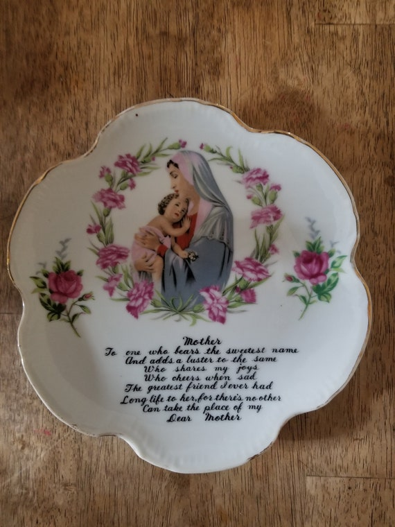 Vintage Mother Poem Decorative plate with Mother Child and red roses, My  Dear Mother Poem Mothers day gift Daughter Mother love