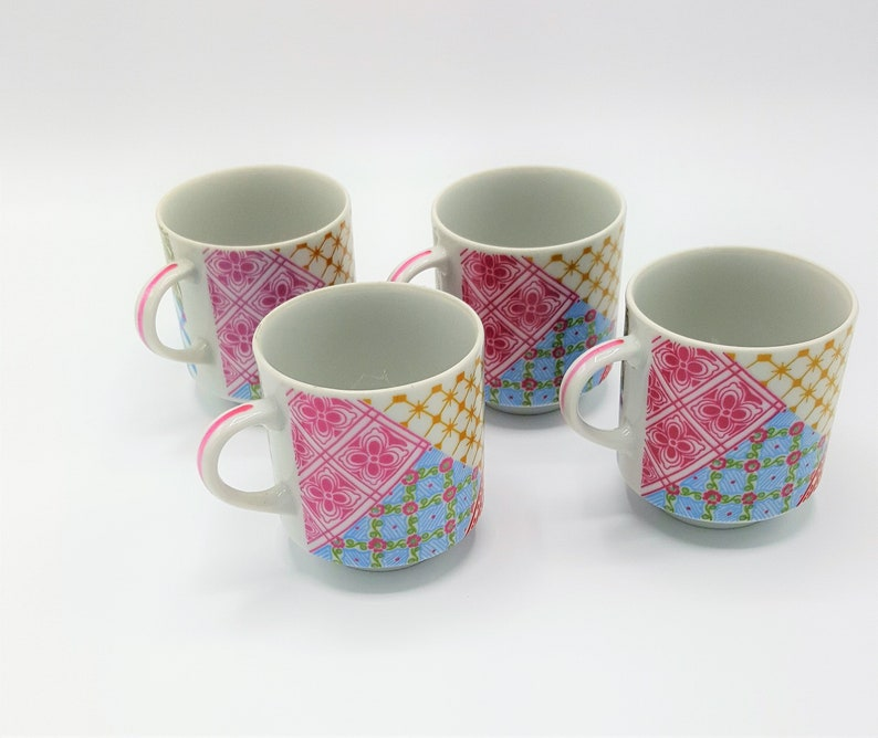 Vintage Retro Stackable Coffee Mugs Pink Blue Yellow Checker Etsy