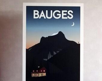 "Vector illustration ""Bauges"" - table mountain - Guizoo"