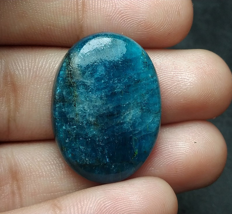 blue apatite natural gemstone cabochon oval shape 31.60cts size 23x16x4mm