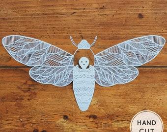 Moth  Papercut - Handmade