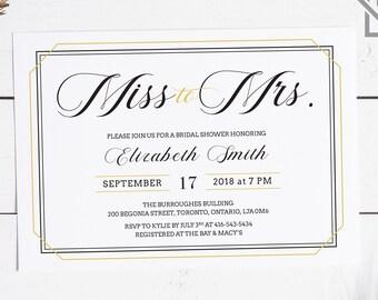 Bridal Shower Invitation, White, Black and Gold Invitation, Art Deco Invitation, Printable, Digital File, Custom Invitation, 5x7