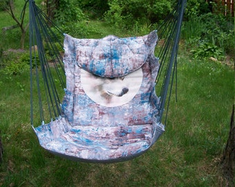 Hammock chair, removable pillow, carrying bag, home and garden, trip outside the city, Handcrafted, Multicolor, Printed decor canvas Husky