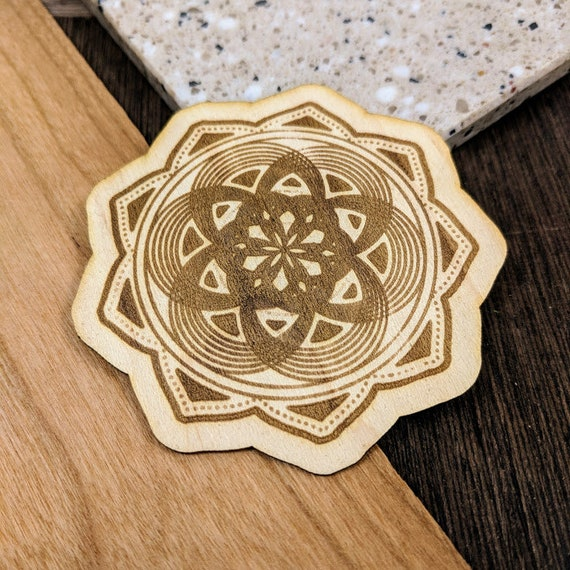 Vibrating Seed of Life Mandala Wooden Sticker Laser Etched Decal//Phone Decal Flask Decal Real Wood Decal