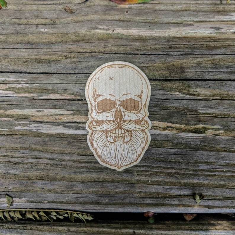 Wooden Sticker SkullBeard flask Decal Real Wood Decal Laser Etched Decal//Phone Decal