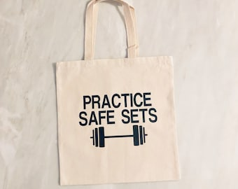 Practice Safe Sets Cotton Canvas Tote. Gym Tote. Gym Bag. Gym Life.  Motivation. Workout Bag. Training. Weightlifting. Barbell. 7b1f3ecc17dd4