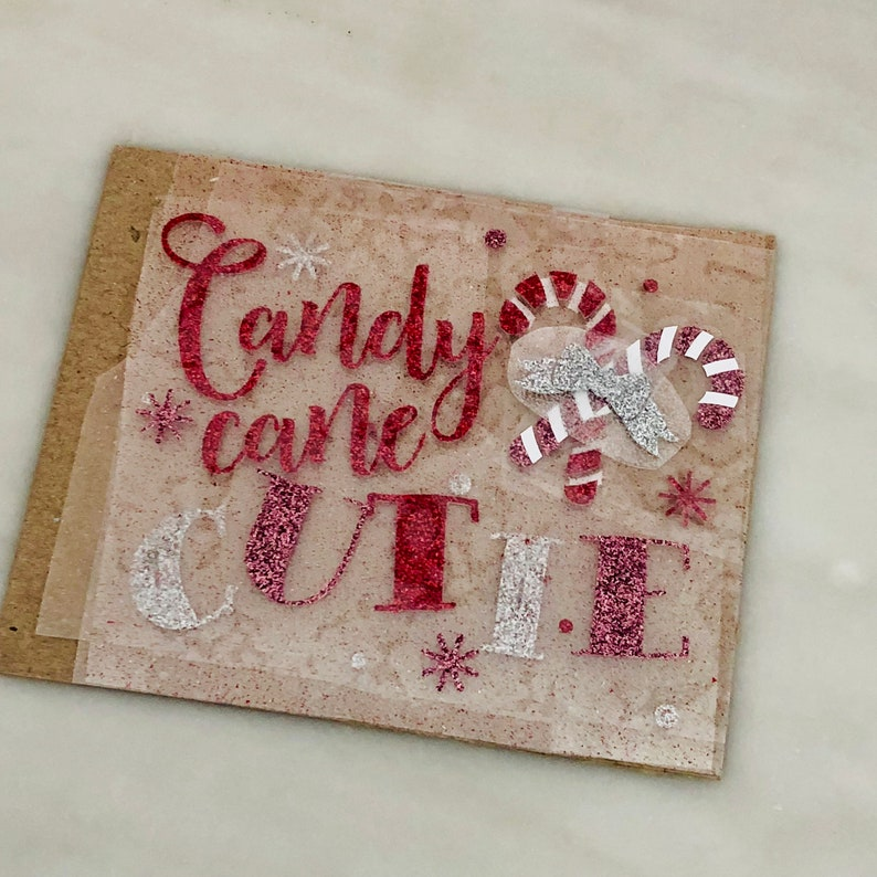 Iron On glitter vinyl Transfer Christmas Cutie