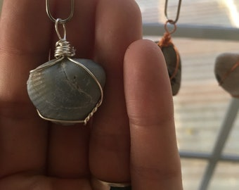 Grey fossil pendant in silver