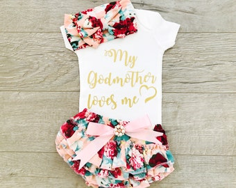 Goddaughter Gifts Baptism Baby Gift My Godmother Loves Me Outfit