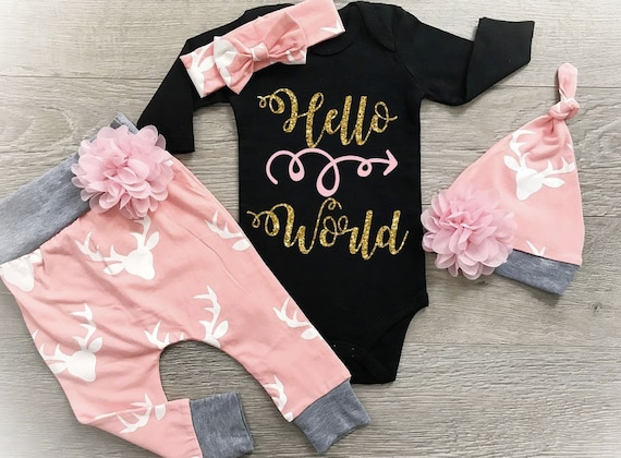 d4f57a6a1 Baby Girl Coming Home Outfit Newborn Girl Outfit Hello World
