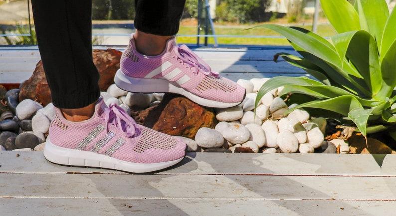 239e35422754b Pink Adidas Swift Run W Girls Rhinestone Sneakers Swarovski