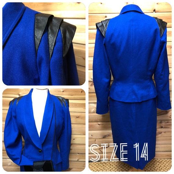 80s leather trimmed Suit Royal Blue