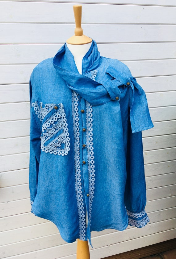 Denim  Blouse New Romantic Style authentic early 9