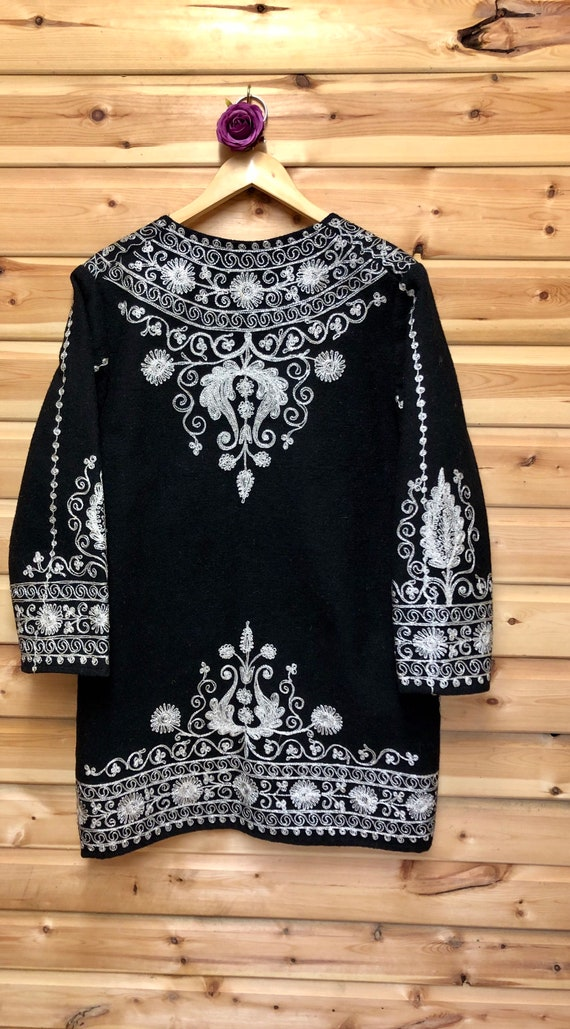 Black Afghan/ Kaftan Coat with Silver Embroidered