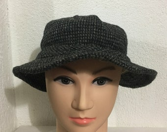77a6d5b1a20 Vintage HARRIS TWEED Goretex Bucket Hat Scottish Wool Hand Wowen Made In  USA Dark Gray Color Size Xl Extra Large 60cm The Northface Hat