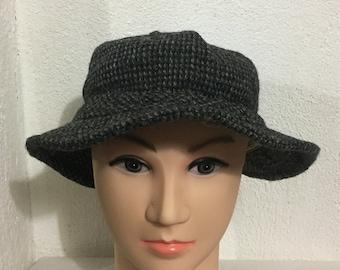 Vintage HARRIS TWEED Goretex Bucket Hat Scottish Wool Hand Wowen Made In USA  Dark Gray Color Size Xl Extra Large 60cm The Northface Hat 5ca1da1b9456