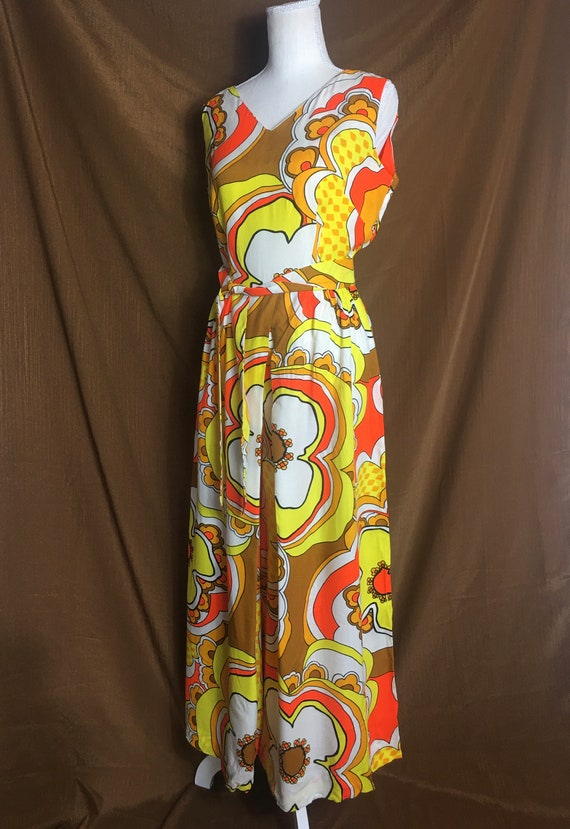 MOD PSYCHEDELIC Palazzo Pant Flower 1960s Jumpsuit - image 3
