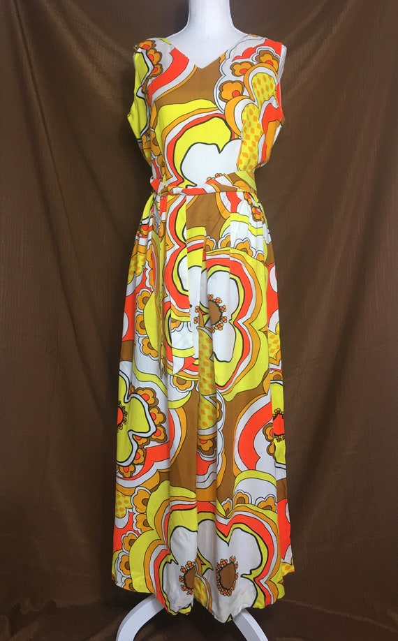 MOD PSYCHEDELIC Palazzo Pant Flower 1960s Jumpsuit - image 5