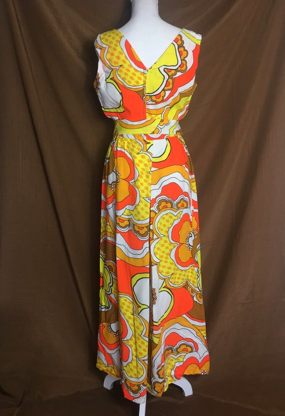 MOD PSYCHEDELIC Palazzo Pant Flower 1960s Jumpsuit - image 4