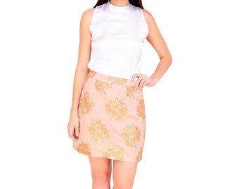 Satin top with brocade skirt