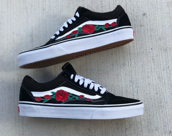 vans shoes with roses