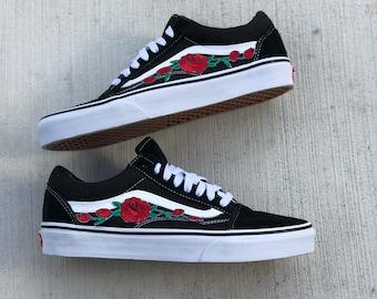 36107149abc7cd Rose Vans Old-Skool Vans Unisex Shoes Rose Patch Vans Custom Vans Floral  Vans