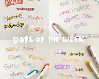 handmade days of the week sticker flakes