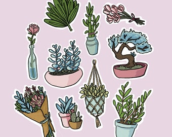 pretty plant sticker pack