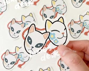 demon kitsune fox mask sticker flake