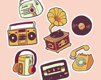 retro music sticker pack