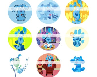 Blues Clues 1 Inch Circles Bottle Cap Circles Image Template Collage Sheet Bottle Caps Paper Craft Custom Made