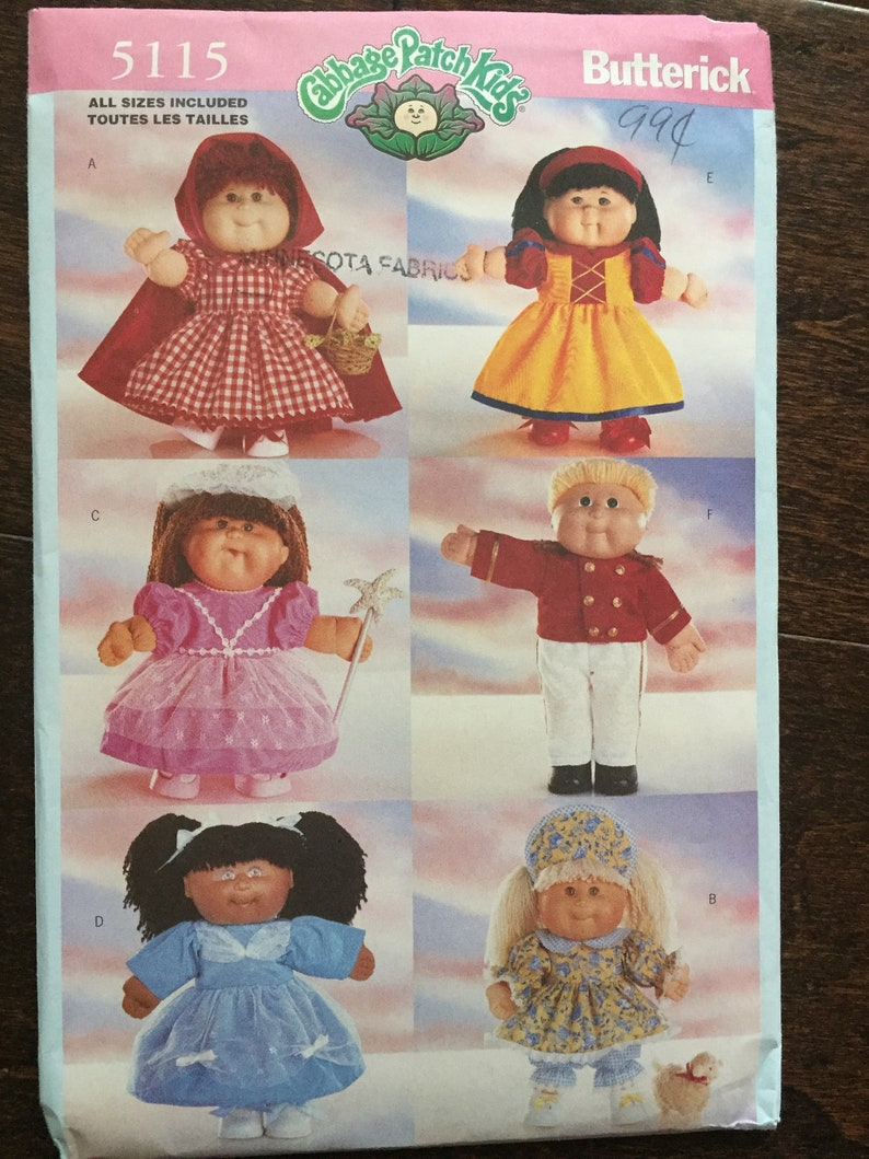 Cabbage Patch Kids Doll Clothes Butterick 1997 Vintage Uncut Sewing Pattern  Fairy Tale Costume Patterns Six Fairy Tale Character Outfits