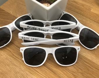 Personalized White  Wedding Sunglasses, White Custom Bride Party Frames,  Bridal Shower Lenses, Maid of Honor Gift