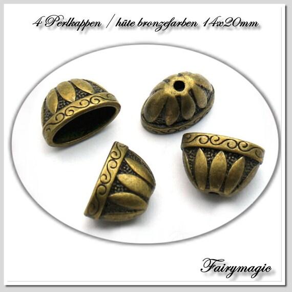 30 Perlkappen in antik Bronze 18 mm