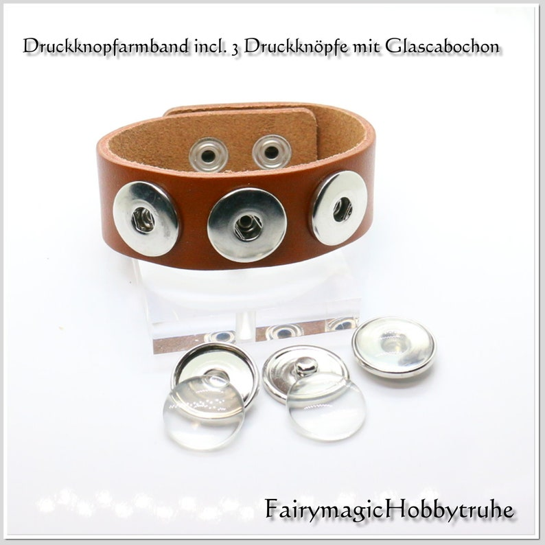 Real leather band for push buttons medium brown including press button blanks with glass cabochon