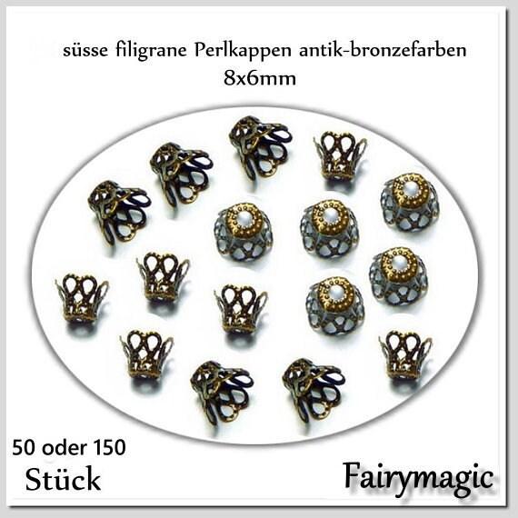 20 Perlkappen in vintage Bronze 8 mm