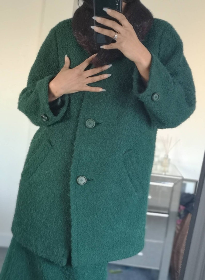 Vintage Mid Century 1950s 1940s style Green Wool Skirt /& Coat Suit w Fur Collar Modern UK Size 12
