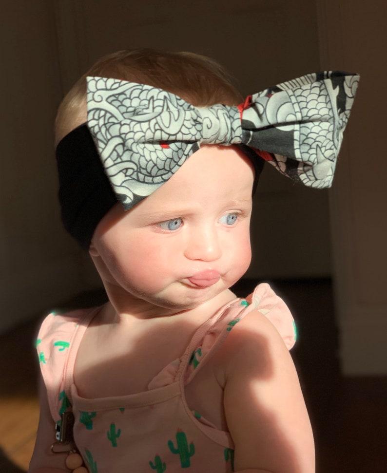 Rockabilly Baby Alexander Henry-Japanese-Tattoo-Dragon-Tatsu-Inked-Cotton Bow Black Headband