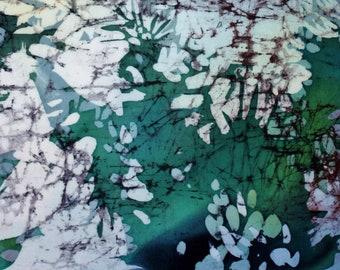 "Handmade painting on silk ""Sky through Pines""/ Batik painting/ wall art/ wall decoration"