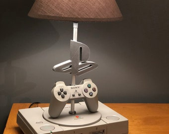 Playstation 1 console desk lamp and 1st generation controller