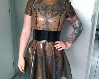 Latex Rubber Gummi Kleid Skaterdress Heart Pattern Custom