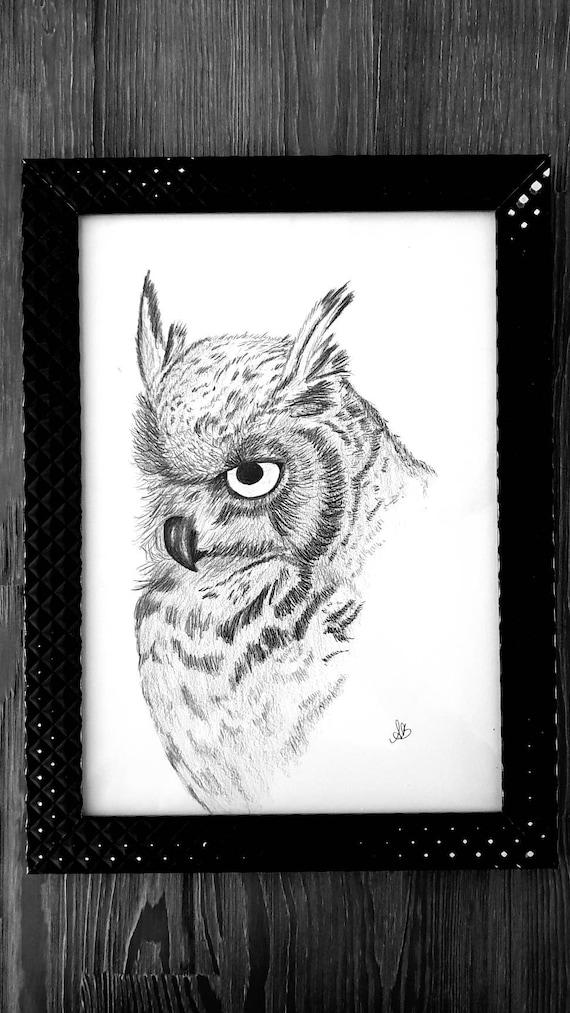Owl pencil drawing original art / artwork | Etsy