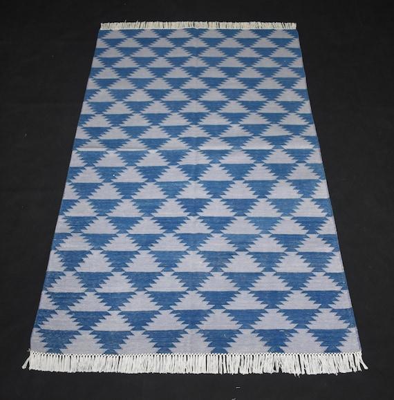 Blue navajo rugs Authentic Image Cameron Trading Post Handmade Cotton Area Rug Blue Coloured Bohemian Dhurrie Kilim Etsy