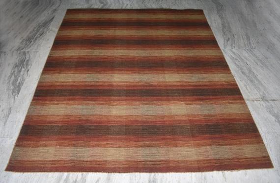 Vintage Antique Soviet Moldovas Traditional Wool Rug eclectic stripe wool homespun multicolour Kilim Home Decor Boho carpet gypsy style USSR