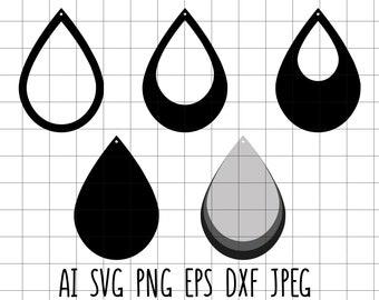 621dd6e9e Teardrop Silhoutte Earring Template Set Vector Clip Art Cut File Vinyl  Transfer Embroidery Svg Dxf Eps Jpeg Ai Png