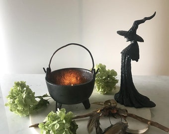 Vintage, Large,Black Iron Witches Cauldron, Altar, Ritual ,Beautiful Centerpiece for Your Sacred Space Area.