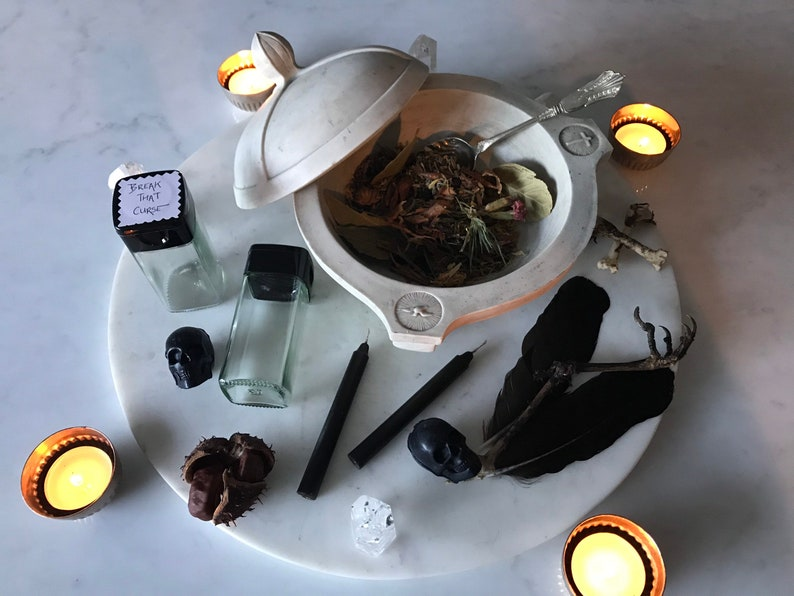 Break That Curse - Witches Burning Kit, Handmade Curse Breaker Incense ,  Rid yourself of that Curse With Black Candles To Burn