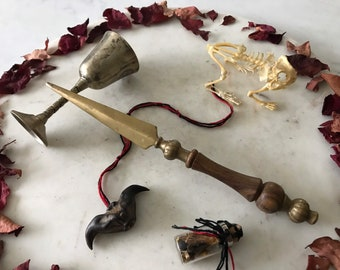 Witches Vintage Brass and wood Athame, Ritual Blade,Altar kit.