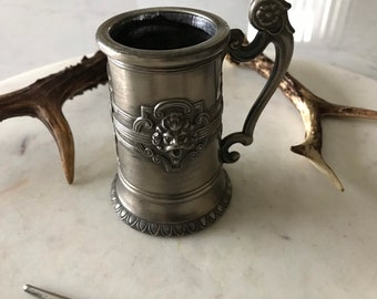 Vintage Pewter Tankard, Green Man, Wine Offerings, Altar Kit, Devil, Witchcraft, Occult Collectable.